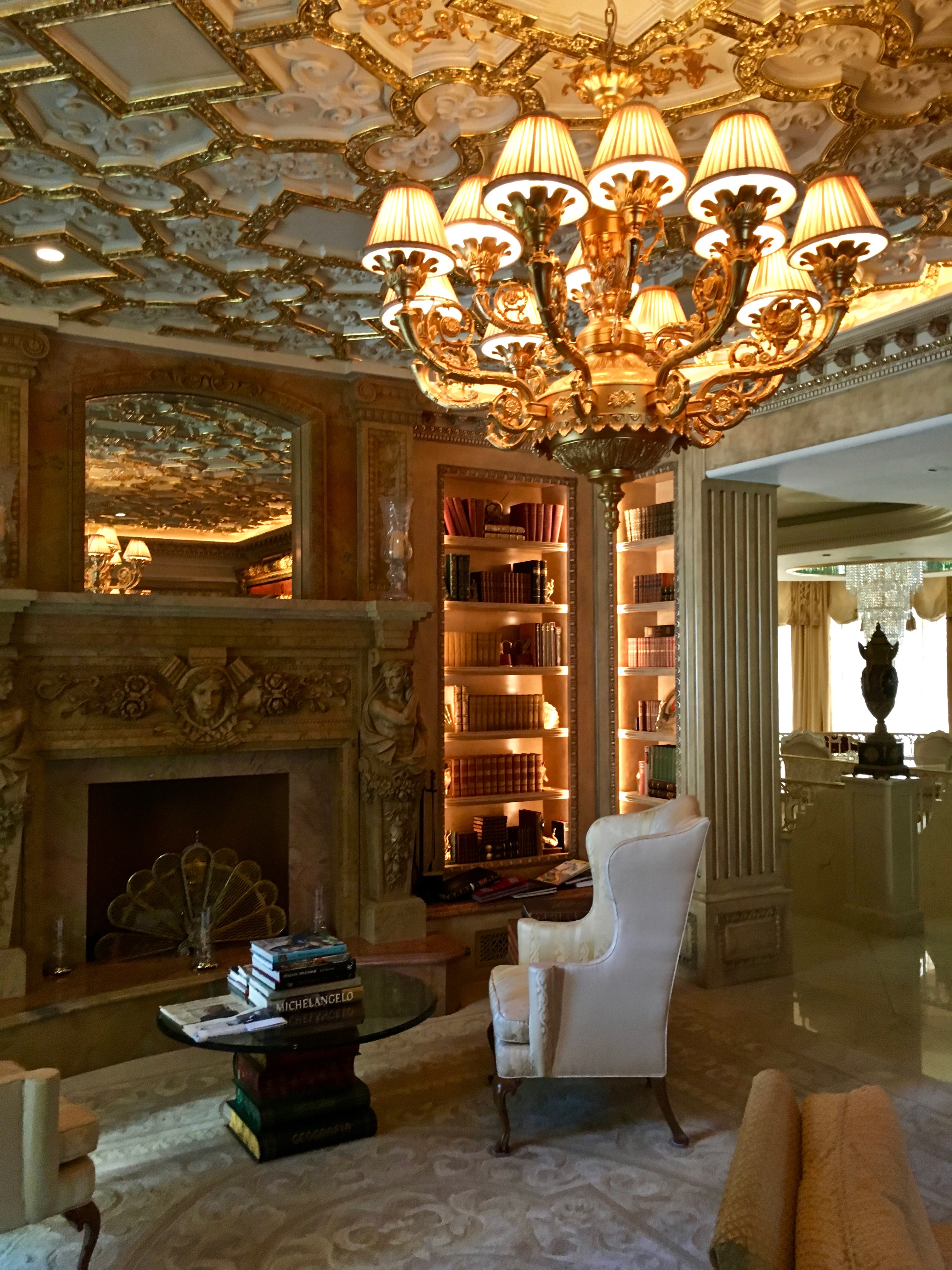 Living Room Study: Indoor-lighting-study-living-room-chandelier-bookcase